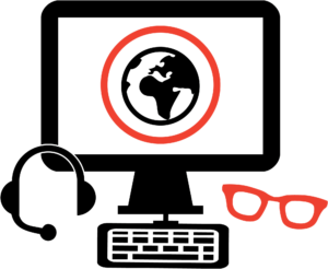 computer with headset and glasses