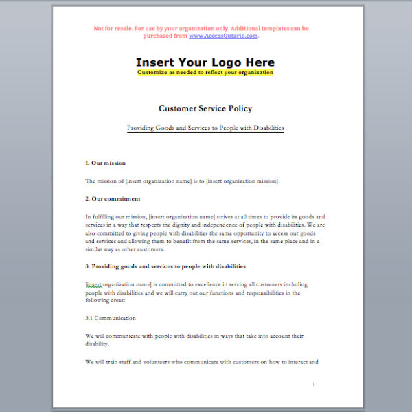 Customer Service Standard Policy Template