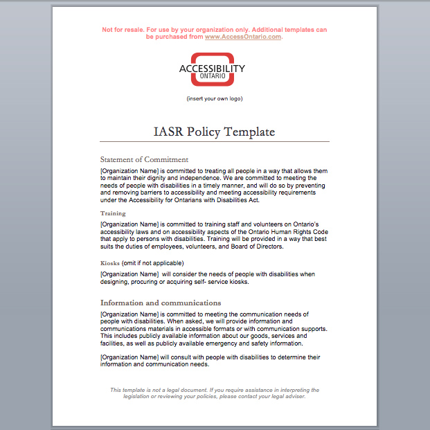 disability access audit template - iasr policy template accessibility ontario